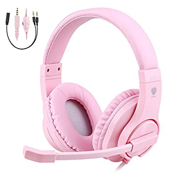 BlueFire Kids Headphones for Online School Children Teens Boys Girls 3.5mm Stereo Over-Ear Gaming Headphone with Microphone and Volume Control Compatible with PS4 New Xbox One(Pink)