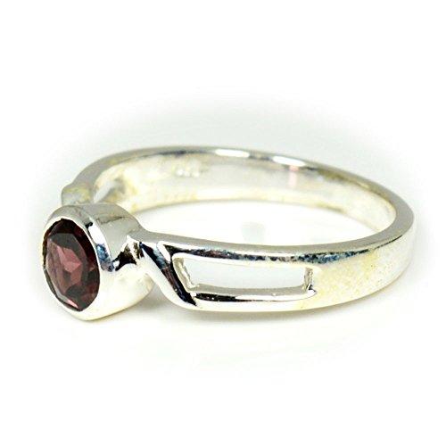 caratyogi natur Runde Steine rot Granat Ring Sterling Silber Gr. Fernmeldeleitung für Herren - 69 (22.0)