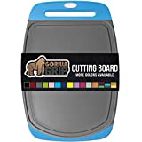 Gorilla Grip Original Oversized Cutting Board, Large Size, 16 x 11.2 Inch, Juice Grooves, Thick Board, Easy Grip Handle, Perfect for the Dishwasher, Non Porous, Kitchen, Professional, Aqua Gray