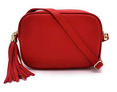 ELIOX Borsa Donna Vera Pelle Made In Italy Piccola Borsetta a Tracolla Elegante Moda Crossbody Bag Genuine Leather (Rosso)