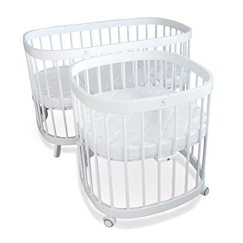 tweeto® Babybett Kinderbett Baby 7-in-1 KOMPLETT-SET - erweiterbar 10 Funktionen inkl. 3-tlg. Matratze Design