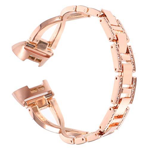 UKCOCO Correa de Reloj Inteligente Aleación Correa de Muñeca Diamante Tachonado Reemplazo de Correa de Reloj Compatible con Fitbit Inversa 3/4 Oro Rosa