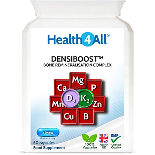 Densiboost Bone Remineralisation 60 Capsules with Calcium, Magnesium, Manganese, Phosphorus, Copper, Boron, Zinc and Vitamins D3 and K2 MK-7. Made in The UK by Health4All