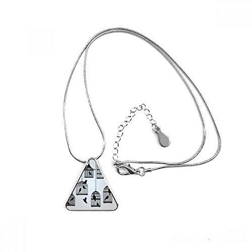 DIYthinker Collar con Colgante en Forma de triángulo con Silueta de Jaula...