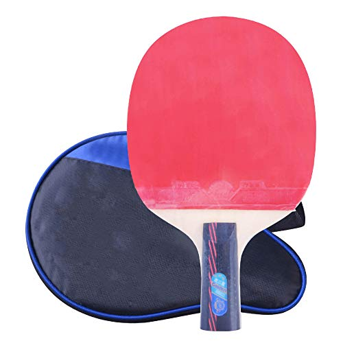 Lerten Palas de Ping Pong,Bate de Tenis de Mesa Profesional para Principiantes de 3 Estrellas,Mango Absorbente de Sudor de Madera Pura de 5 Capas Buena Adherencia/A/Mango corto