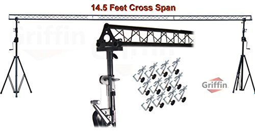 Crank Up Triangle Light Truss System by Griffin|DJ Trussing Stand for Light Cans & Speakers|Pro Audio Stage Lighting Hardware Package|Equipment Mount|Portable Gear Holder for Parties, Music, Live Gigs