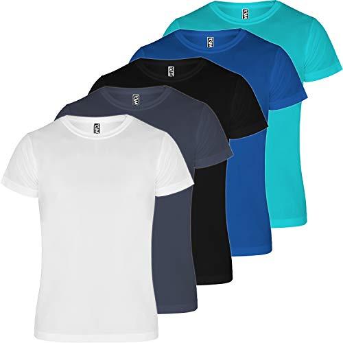 13MW Camiseta técnica Hombre | Pack 5 | Tejido técnico para Deporte...