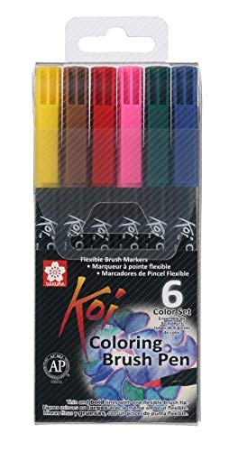 Sakura Koi Coloring Brush Pen 6 kleuren