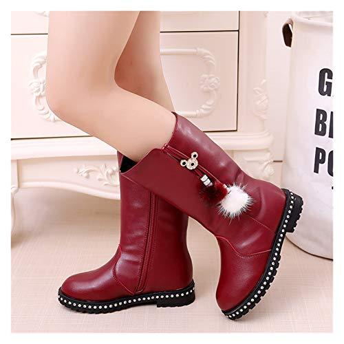 Youpin Botas de piel suave para otoño e invierno para niños, de terciopelo cálido, botas de pierna alta, a la moda, botas de nieve impermeables (color: D52 algodón rojo vino, talla de zapato: 35)