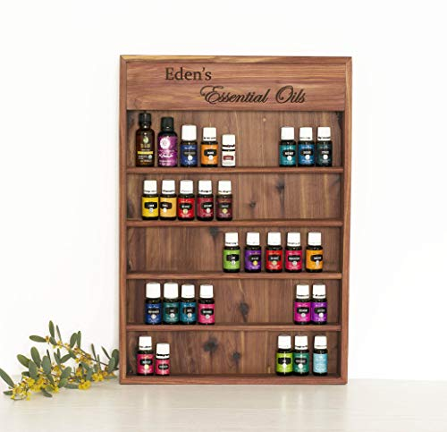 Personalized Engraved Essential Oil Storage Wood Shelf Wall Rack