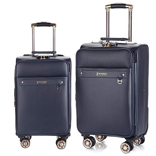 Suitcase PU Leather Waterproof Retractable Column Set Nested Set Carry Soft Shell Lightweight Silent Rotator Multi-directional Wheel For Travel Travel Luggage Case