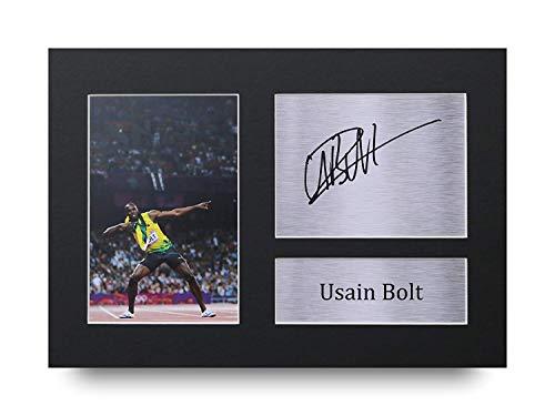 HWC Trading Usain Bolt A4 Sin Marco Regalo De Visualización De Fotos De Impresión De Imagen Impresa Autógrafo Firmado por Jamaica Ventiladores Olimpiadas
