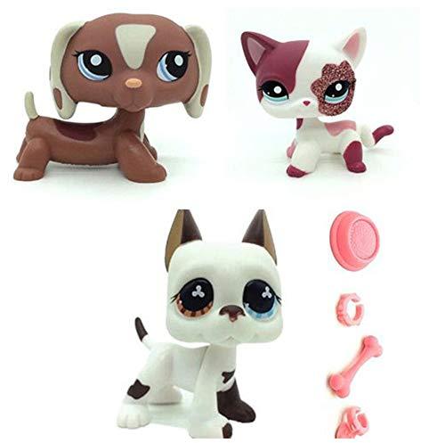 WooMax Pet Shop Toy LPSs - Juguete inteligente para perro salchicha + gato rosa brillante + cachorro blanco danés con 4 piezas de repuesto LPSs para niños y niñas