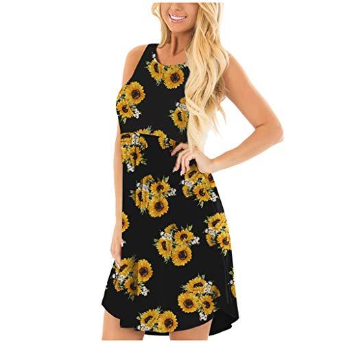 Jesaisque Women Summer Sleeveless Floral Printed Pockets Sundress Casual Swing Dress T-Shirt Dress Sundress Loose Dress (Black, M)