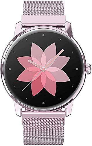 Reloj inteligente para mujer elegante caja de metal de 1.1 pulgadas HD pantalla IP68 deportes impermeables con monitoreo del sueño rastreador de fitness-Rosa E