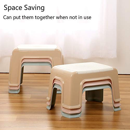 ICHE Step Stool with ABS Plastic Stools, Adults Simple Style Stool Anti-Slip with Strong Bearing Stool for Home, Office, Kindergarten - White with Blue