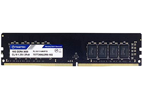 Timetec Rendimiento extremo Hynix CJR IC 16GB DDR4 3600MHz PC4-28800 CL18 1.35 V sin búfer sin ECC Dual rango diseñado para juegos y de alto rendimiento compatible con AMD e Intel Desktop Memory