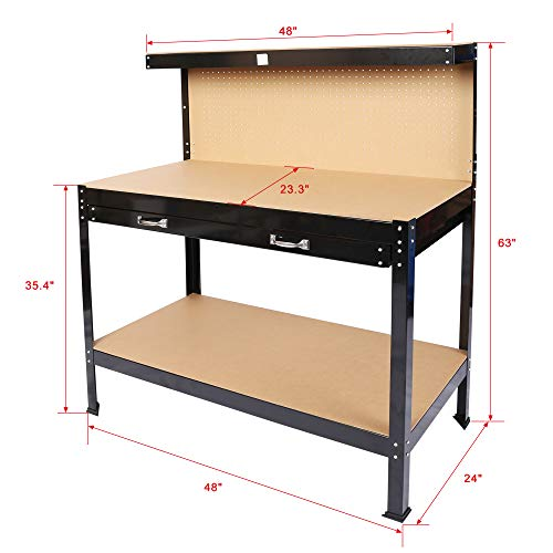 SIRUITON Steel Workbench Tool Storage , Multi-Purpose Workbench ,Work Bench Workshop Tools Table W/Drawer and Peg Board