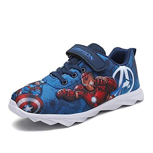Malltea Säugling Baby Jungen Lauflernschuhe Weiche Leinwand Schuhe Kleinkind Neugeborene Cartoon Rutschfeste Weiche Sohle Sneaker Schuhe, Blau - blau - Größe: 32 EU