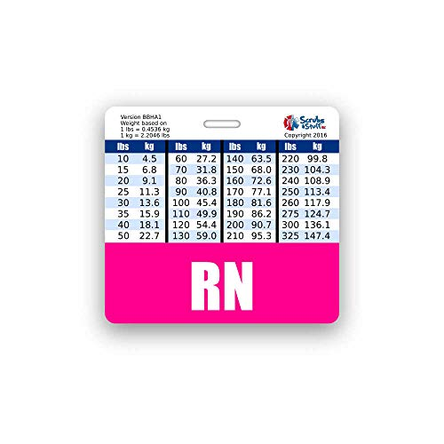 RN Badge Buddy Horizontal w/Height & Weight Conversion Charts (Standard, Pink)