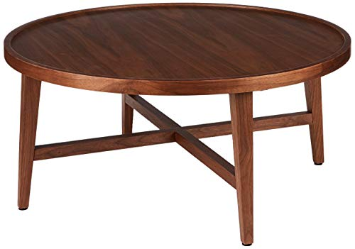 Amazon Brand - Rivet Round Coffee Table with Solid Wood Legs, 80 x 80 x 36cm, MDF with Walnut Veneer/Solid Beech Wood