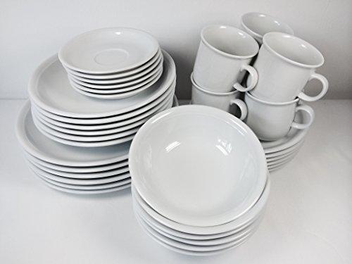 Thomas Trend Weiss 36tlg. Geschirr / Kombi Set mit Becher 0,28ltr. und Müslischale / Bowl Ø17cm (12tlg. Tafel-Set/Speise-Service und 18tlg. Kaffee-Set/Kaffee-Service mit Kaffeebecher)