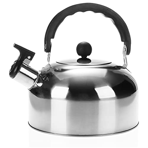 COM-FOUR® Teekessel 1,5 L - Camping Wasserkessel aus rostfreiem Edelstahl - Flötenkessel zum Wasserkochen - Retro Kessel (1 Stück - 1.5 Liter)