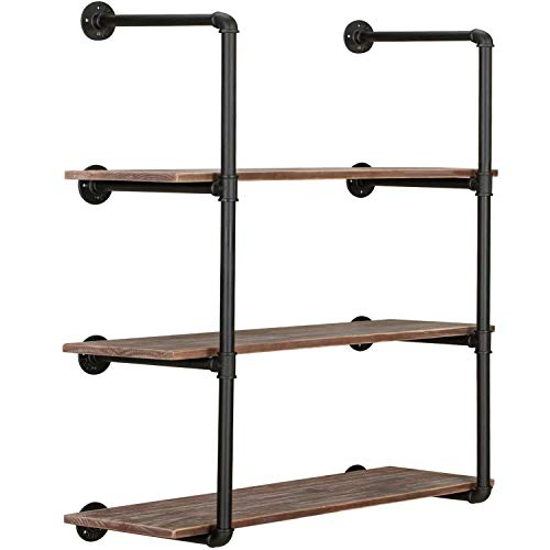 Homevol Bookshelf, Industrial 5 Shelf Bookcase Metal and Wooden Bookshelves, Rustic Bookcase Standing Storage Shelf Organizer Tall Shelving Units for Home Office Study, 71'' Height