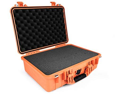 PELI 1500 Wasserdichter Koffer für Kameraausrüstung, IP67-Zertifiziert, 19L Volumen, Hergestellt in Deutschland, Mit Schaumstoffeinlage (Anpassbar), Orange