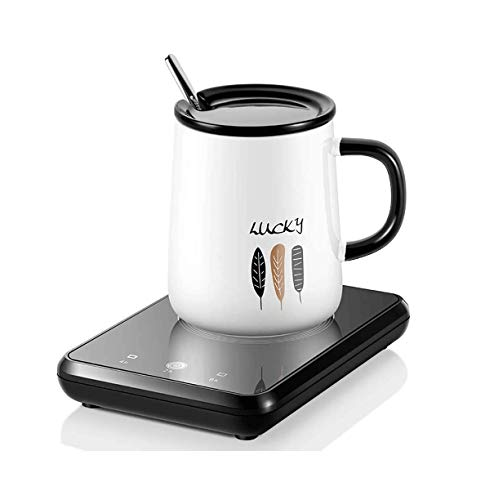 SASAMM Coffee Mug Warmer, Electric Smart Beverage Cup Warmer, Coaster Cup Mat Warm Electric Pad for Tea, Water, Cocoa, Milk-Cup Heater Plate with 3 Temperature Settings (Black) (Color : Black+Cup)