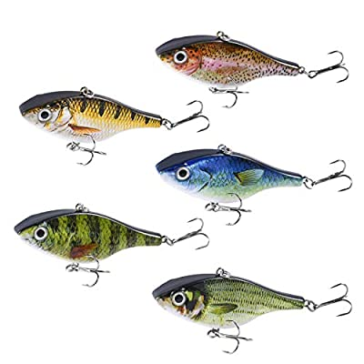 Magreel Fishing Lure Crankbalts Bibless Sinking Lures Vibrations Mustad Treble Hooks for Trout Salmon Bass Tackle Box(Pack of 5 Fish Lure)