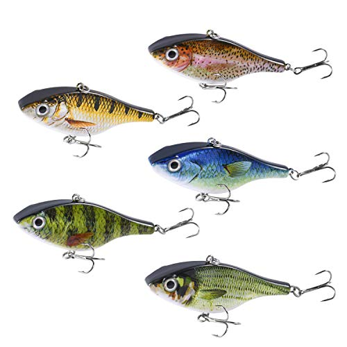Magreel Lipless Fishing Crankbaits Set, VIB Lures with Treble Hook, Rattle Track Lures 3D Fishing Eyes for Trout, Walleye Redfish (5 Pack)