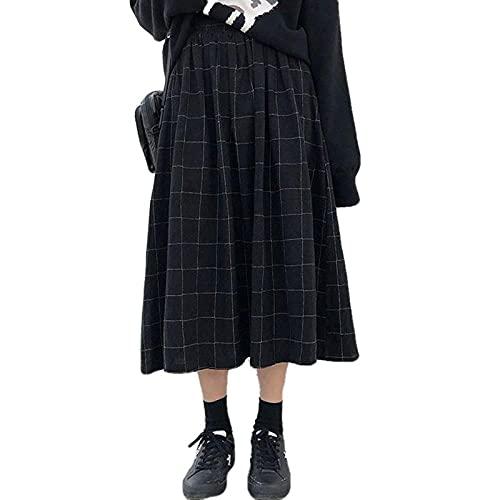 YLDCN Abbigliamento Donna Gonna Longuette Donna Gonna Scozzese A Vita Alta Gonna Lunga Streetwear Femminile-Black_One_Size
