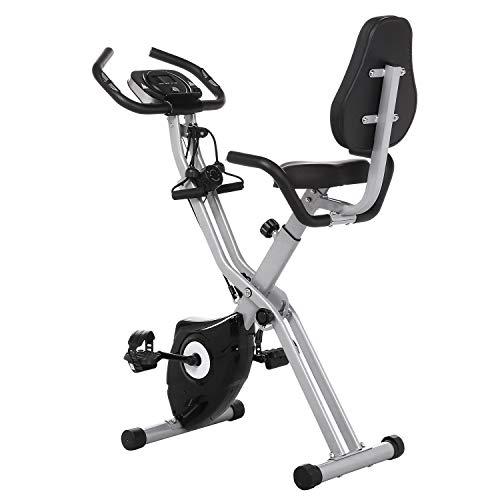 Profun Vélo d'Appartement Pliable Vélo de Fitness 10 Niveaux de Résistance Magnétique& Siège Large et Confortable, Vélo d'exercice à l'Intérieur Support pour Tablette & Moniteur Numérique