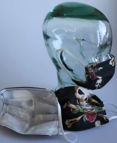 Behelfmasker spuckbescherming masker katoen met binnenvlies - doodskop schedel rozen