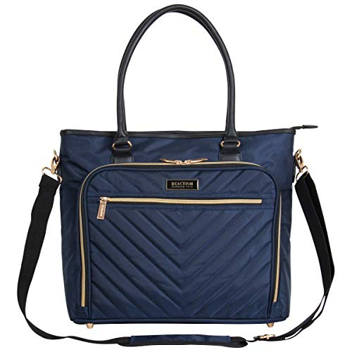 Kenneth Cole Reaction Chelsea Quilted Chevron 15' Laptop & Tablet Business Tote With Removeable Shoulder Strap, Navy