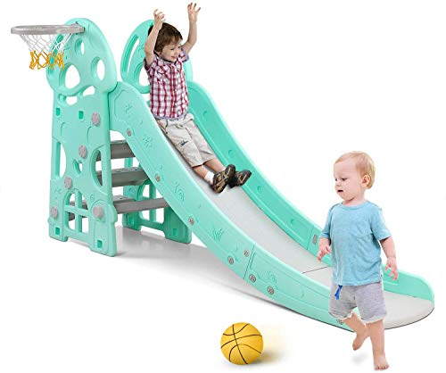 Bamny Kids Slide Outdoor Garden Children Toys for Toddlers, Large Slide for Toddlers Babies Toys Activity, Freestanding Slide for Children, with Basketball Hoop, Up to 25Kg