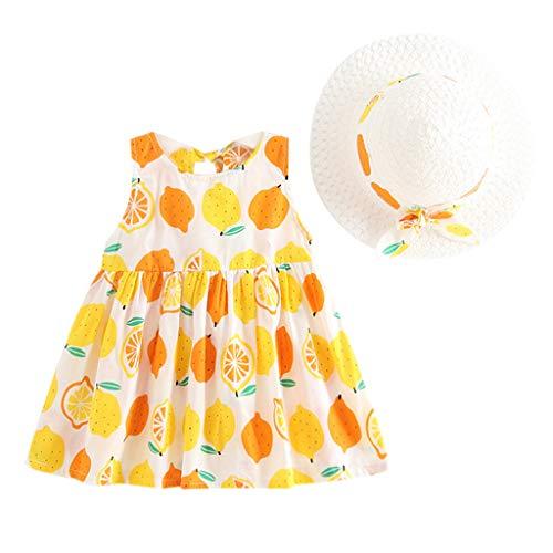 REALIKE Kinder Baby Mädchen Ärmellos Kurze Kleid+1PC Hut Mode O-Ausschnitt Polka-Punkt Bogen MiniKleid Hoher Taille Prinzessin Sommerkleid Urlaub Outfit Kleidung Schön Kleinkind (Gelb-2, 90)