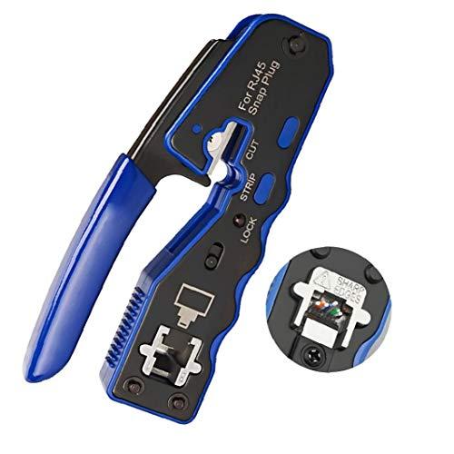herramienta para prensar RJ45 conectores 8P Crystal alambre del extremo plegado Paso a través del separador del cable crimpadora material duradero
