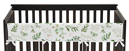 Sweet Jojo Designs Floral Leaf Girl Long Front Crib Rail Guard Baby Teething Cover Protector Wrap - Green and White Boho Watercolor Botanical Woodland Tropical Garden