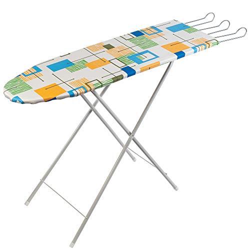 KADAX Bügelbrett, Kleiner, klappbarer Bügeltisch mit breiter Bügelfläche, 98,5 x 30 cm, höhenverstellbar, ausziehbare Bügeleisenablage, Gestell aus Edelstahl, leicht