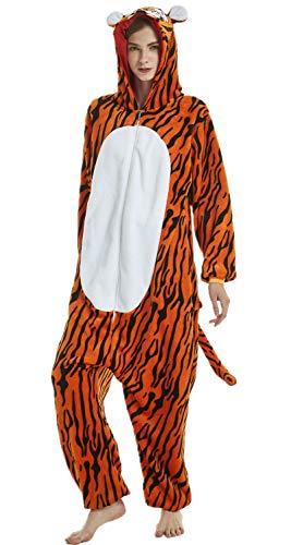 Erwachsene Unisex Einhorn Tiger Lion Fox Onesie Tier Schlafanzug Cosplay Pyjamas Halloween Karneval Kostüm Loungewear Tiger L 165-175cm