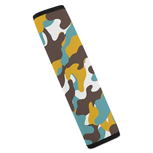 Adults Kids Car Seat Belt Shoulder Pad Cover- Durable Universal Auto Safety Strap Protector Cushions for Car,Truck,SUV,Airplane,Backpack- Camouflage Background
