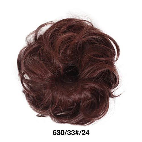 Cheveux Extensions Bande De Cheveux Scrunchy Droite Ondulée Cheveux Chignon Bande De Caoutchouc Désordonné Donut Élastiques Chignons Synthétique Postiche