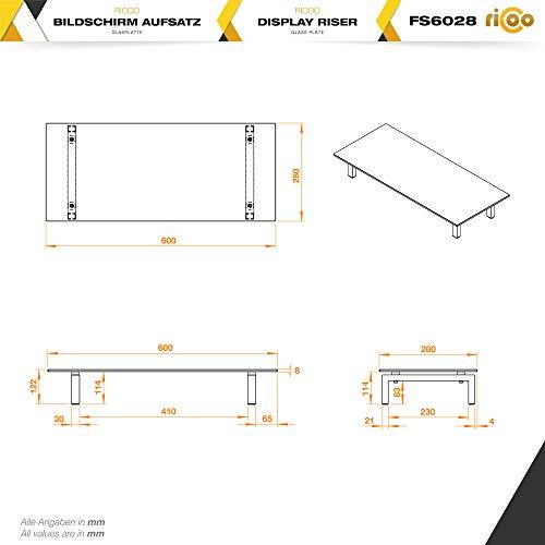 RICOO FS6028-C Meuble TV 60x28x10 cm Réhausseur écran Universel Étagere Bureau Support Tablette pour Télévision ecran PC Verre/Noir