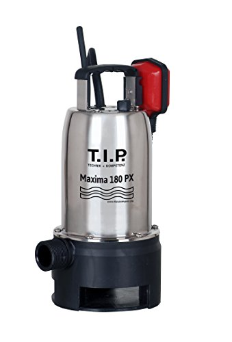 T.I.P. 30121 Schmutzwasser Tauchpumpe Edelstahl Maxima 180 PX, bis 10.500 l/h Fördermenge