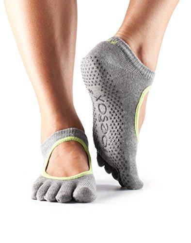 Toesox - Calcetines para yoga de mujer con el empeine al descubierto., Grey with Lime trim, large