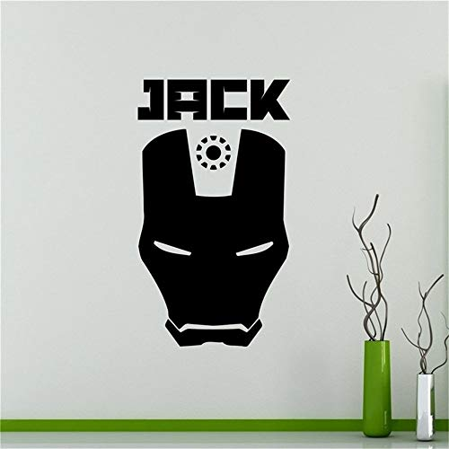Muursticker Aangepaste namen Iron Man Masker Sticker Gepersonaliseerde Decals Home Decor 15.5x23.2 inch