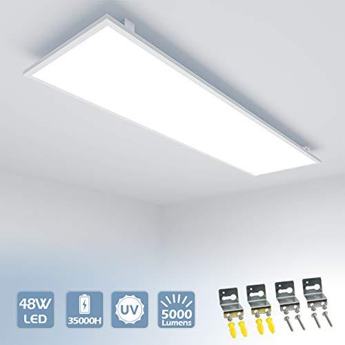 [Pro High Lumen] Vkele LED Panel 120x30cm Kaltweiß 6000K 48W 5000 lumen Weißrahmen Led Panel Deckenleuchte, Deckenlampe, Büroleuchten mit Winkel-Anbauset für Schlafzimmer, Wohnzimmer