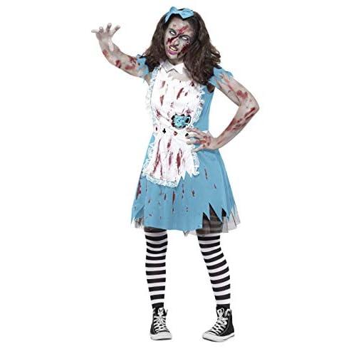 Smiffys Costume Zombie Tea Party, Azzurro, con abito, tazza da tè in lattice e copricapo